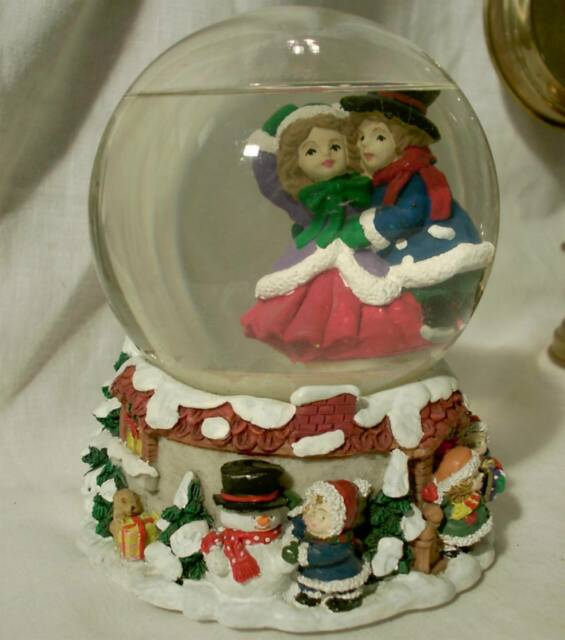 Vintage San Francisco Music Box Co Lighted Snow Globe White Christmas Song Large
