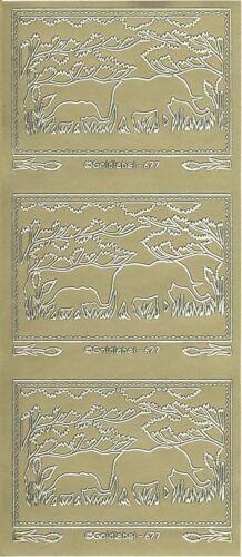 Goldlabel Outline Stickers Auto-collant Animal éléphant elephant 677