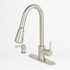 NEW Modern Brushed Nickel Kitchen Sink Faucet Pull-Out Spray Soap Dispenser
