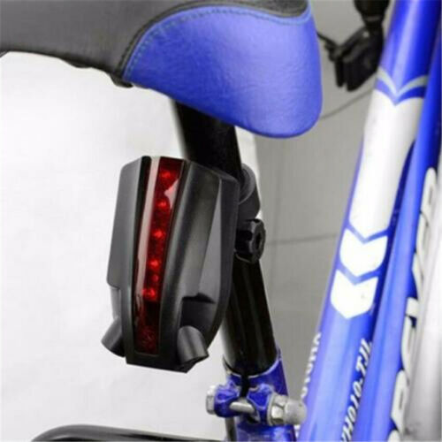 Bike Cycling Bicycle Laser Beam 5 LED Flash Safety Rear Tail Light Lamp Red