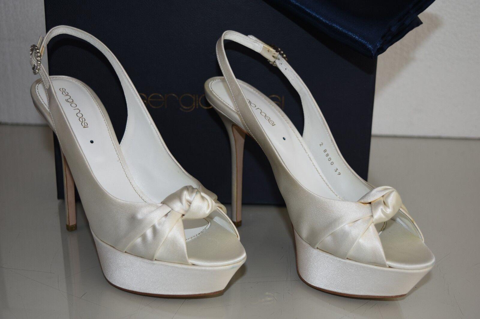 875 New Sergio Rossi Ivory Satin STRASS 39 Wedding Bridal Bridal Wedding Platform   e3463f