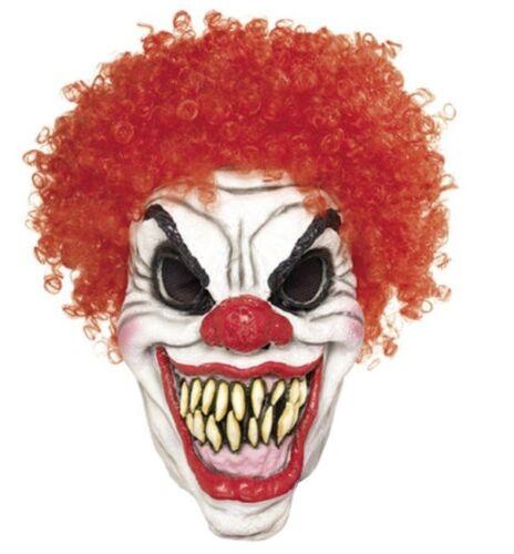 Horror Clown Maske Evil Red aus Latex mit roten Lockenhaaren Halloween Fasching