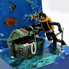 CHIC Aquarium Hunter Treasure Figure Decor Landscape Action Fish Diver Ornament