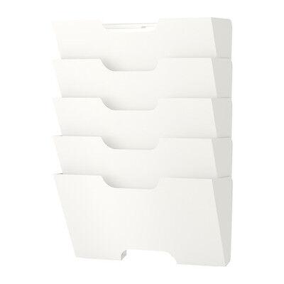 IKEA KVISSLE 4 SHELF WALL MOUNTED NEWSPAPER MAGAZINE HOLDER RACK - WHITE