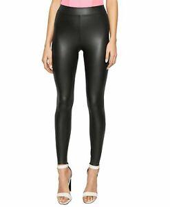 Nouveau Femme Noir Faux Cuir Taille Haute Leggings Taille L//XL 12-14