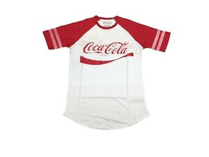 Coke-Coca-Cola-The-Real-Thing-Vintage-Drink-Striped-Sleeve-Men-039-s-Scoop-T-Shirt