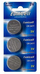 3-x-CR2477-3V-Lithium-Knopfzelle-1050-mAh-1Cards-a-3-Batterien-Euni