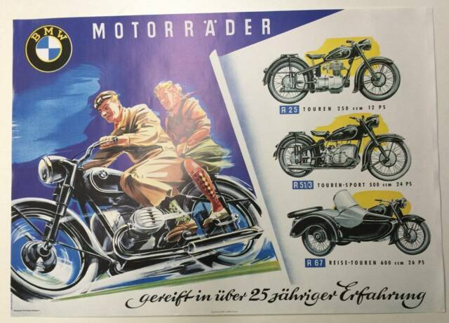 BMW Vintage Motorcycle Poster 1953 RARE #62717d