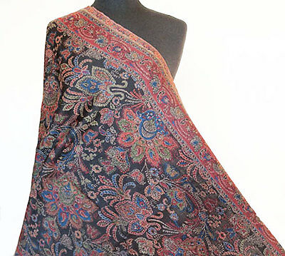 Hand-Cut Kani Jamavar Wool Paisley Shawl Very Detailed Jamawar  Pashmina Stole