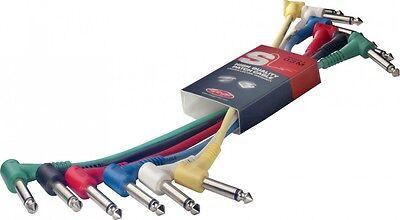 6 Câbles Jack 6,35 Mono Coudé Vers Jack 6,35 Mono Coude Longueur 60 Cm Chacun
