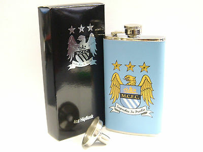 MCFC660 Manchester City FC 4oz Leather Hip Flask /& Funnel