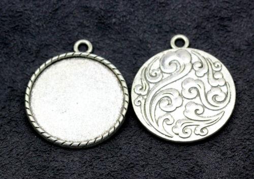 Tibetan Silver fit Cameo Cabochon Base Setting Charms Pendants 3-50pcs 33x38mm