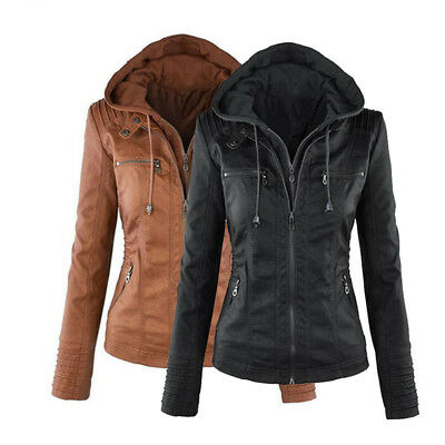 Womens Leather Hooded Jacket Slim Parka Coat Overcoat Trench Winter Outwear New