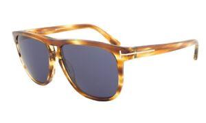 b26785fc8e07e Tom Ford LENNON Sunglasses Amber Havana Frame Blue Lens FT0288 47V ...