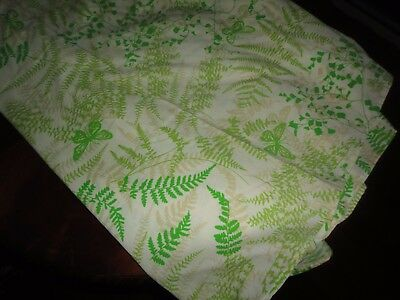 VINTAGE BURLINGTON VERA GREEN FERNS BUTTERFLIES BOTANICAL OVAL TABLECLOTH 64X98