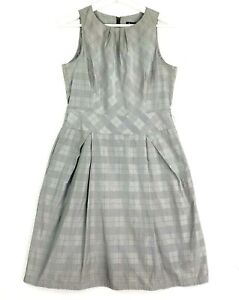 CUE in the City Women's Size 10 Grey Sleeveless Plaid  Fit Flare Corporate Dress
