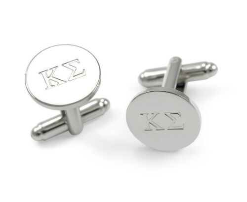 Suit /& Tie Greek Gift Kappa Sigma Fraternity Cuff Links// Silver Plated Brass