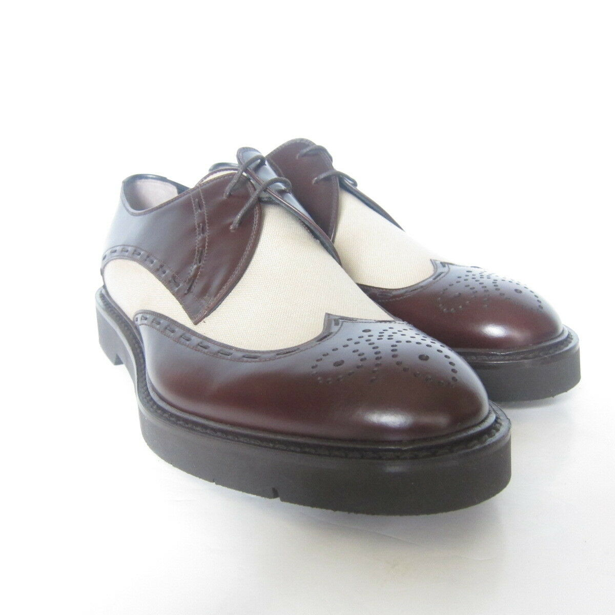W-1925175 New Fendi Oxford Pelle/Fabric Brown/Sandy Size9 Fawn Shoe Size9 Brown/Sandy US-10 1b68ff