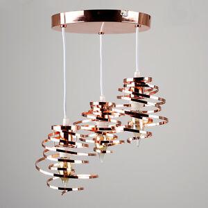 Modern Copper 3 Way Drop Ceiling Light Fitting Spiral