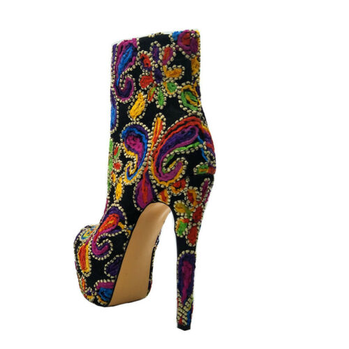 Ethnic Womens Ankle Boots Multi-color Platform High Heel Stilettos Booties Shoes