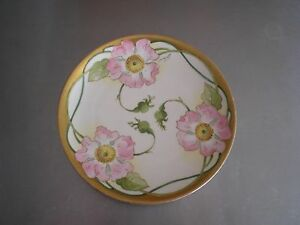 ANTIQUE LIMOGES FRANCE HAND PAINTED (DUVAL) PLATE, WILD ROSES 9 1/2 ""