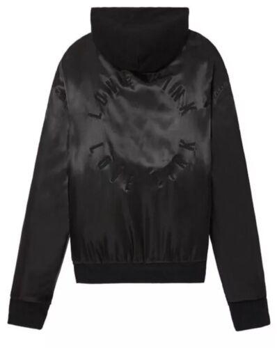 7ba36b71c0d ... Victoria s Secret Pink Bomber Jacket Coat Hooded Black Satin Size  Medium New
