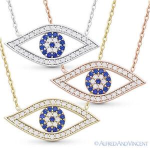 Evil-Eye-CZ-Charm-Crystal-Pendant-Turkish-Nazar-Greek-Sterling-Silver-Necklace