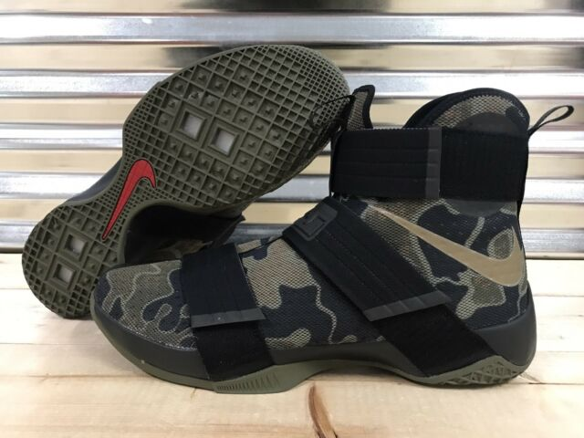 newest 1fa9f 217dc Nike Lebron Soldier X 10 SFG Shoes Camo Green Olive Black SZ 16 ( 844378-