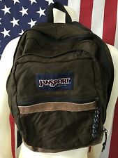 VTG���� Jansport Made In USA Oxide Canvas Brown Leather Every Day Backpack Unisx