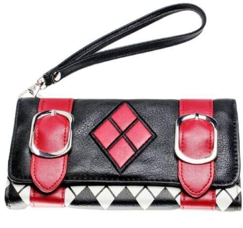 Harley Quinn Symbol Design Tri-Fold Clutch Wallet With Wristlet