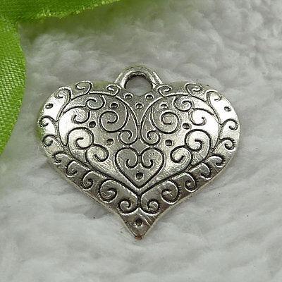 Free Ship 60 pcs tibet silver heart charms 27x27mm #940