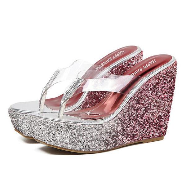 Sandalias de chanclas mujer zapatillas rosa chanclas de zuecos cuña 12 cm elegante y cómodo 462ac1