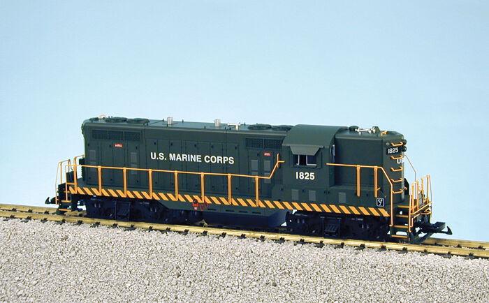 USA Trains GP7-9 Escala G Locomotora Diesel R22132 US Marine Corps verde