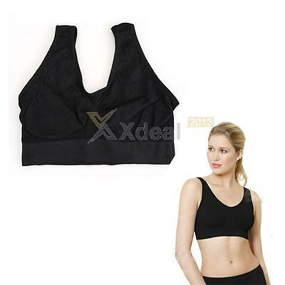 NEW Women Seamless Leisure Comfy Crop Top Vest Sports Yoga Bras Non Padded M-XXL