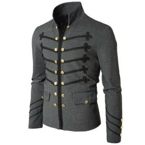 Mens Vintage Military Jacket Rock Victorian Gothic Coat Steampunk Frock Uniform*