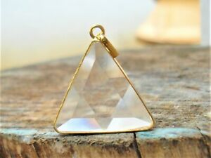 SUPER-Clear-Quartz-VOGEL-Triangle-with-18K-GOLD-on-SILVER-SettingPendant-Energy