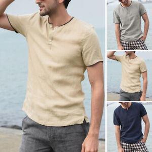 UK-Men-039-s-Linen-Short-Sleeve-Summer-Solid-Shirts-Casual-Loose-Dress-Soft-Tops-Tee