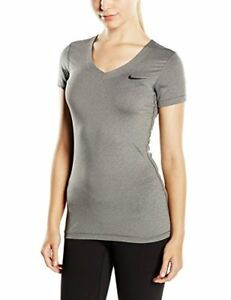 30-Women-039-s-Nike-Pro-SS-V-Neck-Carbon-Heather-Black-Size-Medium-New-1