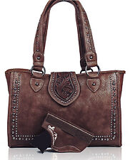Montana West® Large, Dual Entry Concealed Carry Western Tote w/ Holster- Coffee