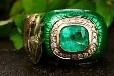 Collectors Item 4.30tcw Emerald Cushion, Diamond & Enamel Men's Cocktail Ring