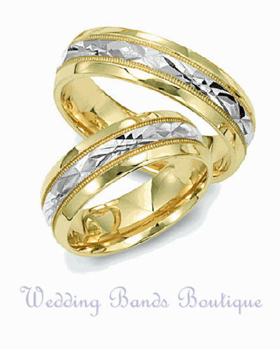 Two Tone 14k White U0026 Yellow Gold Matching Wedding Ring Set His Hers Brushed  Band | EBay