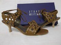 Stuart Weitzman 6.5 M Circular Toffee Leather Open Toe Heels Womens Shoes