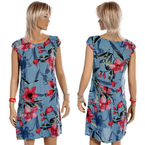 36-44 Leinen Kleid Sommerkleid Italy  A-Linie großer Blumen Druck Kurzarm Gr