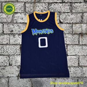 Movie Basketball Jersey Monstars 0 Alien Dark Blue All Stitched Mens