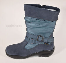 Ecco Girls Winter Queen Gore-Tex Blue Suede Combi Zip Boots UK 1 EU 33