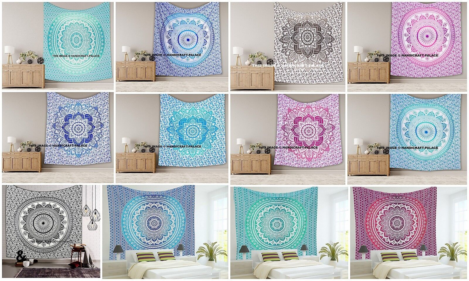 10 PC LOT Indian Mandala Wall Hanging Tapestry Throw Boho King Größe Bedspread