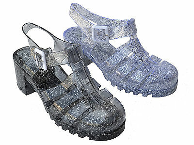 P-jj Women Clear Jelly Sandals Chunky Heel Retro Gladiator Strappy Buckle Shoes