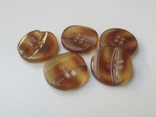 5 moderne honig braune Kunststoff Knöpfe in Schildpatt Optik 3192br