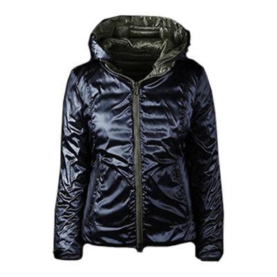 Piumino Bomboogie JW 873D donna reversibile cappuccio verde blu L giacca | eBay
