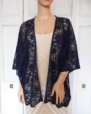 Navy Blue  LACE Kimono Wrap Wedding Evening Shrug Bolero Jacket.. Sizes 8 - 24